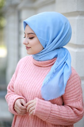 Cotton Plain Color  Shawl  Scarf Bebe Blue