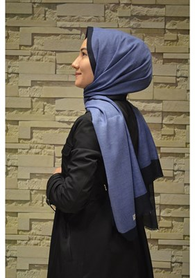 Baskılı Monogram  Shawl İndigo Dark Blue