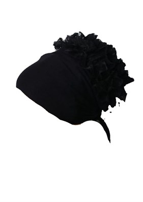 Lacy Black Bonnet 05