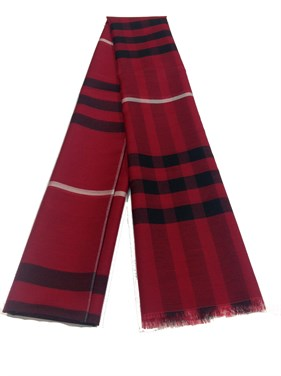 Plaid Design %20 Silk  Shawl  Red