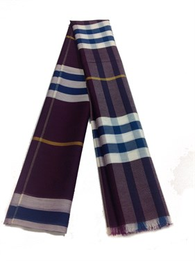 Plaid Design %20 Silk  Shawl  Purple