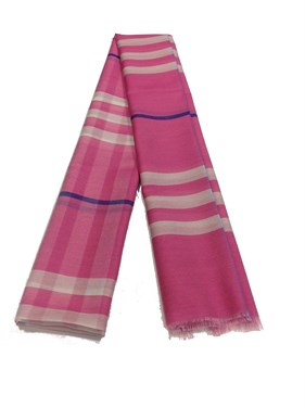 Plaid Design %20 Silk  Shawl  Pembe